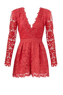 Coral Lace Romper by Nicole Miller