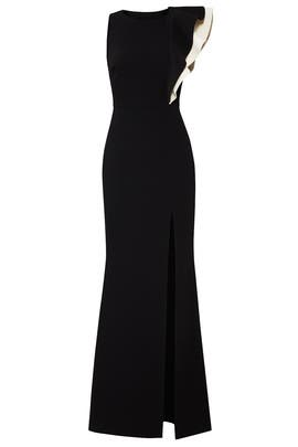 Asymmetric Flounce Gown by Halston Heritage