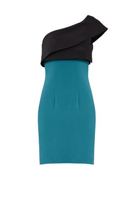 Teal Colorblock Sheath by ML Monique Lhuillier