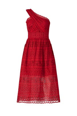 Red Lace Midi Dress by Self-portrait