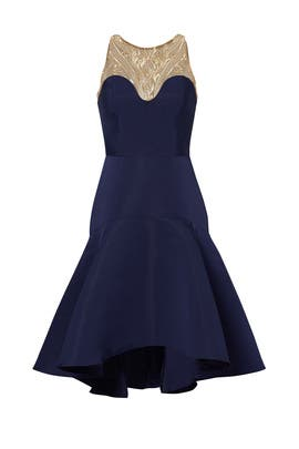 Navy Golden Arch Dress by Marchesa Notte