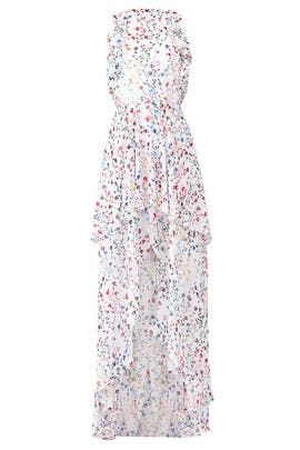 White Floral High Low Gown by ML Monique Lhuillier