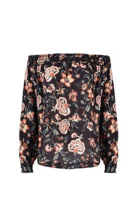 Black Multi Floral Off Shoulder Top by Sachin & Babi