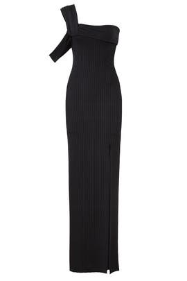 Black High Slit Gown by Baja East