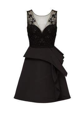 Black Embroidered Cocktail Dress by Marchesa Notte