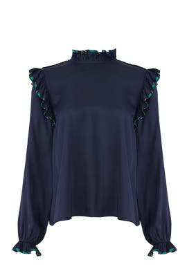 Persian Blue Twill Blouse by Opening Ceremony