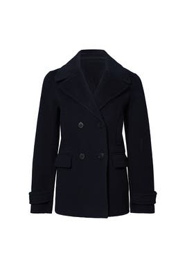 Navy Double Breasted Cropped Peacoat by VINCE.