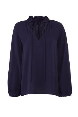 Navy Ruffle Neck Blouse by BLAQUE LABEL