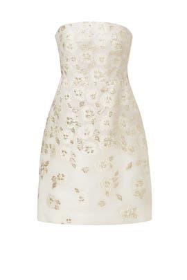 White Floral Flounce Back Dress by Lela Rose