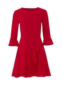 Crimson Red Ruffle Dress by Slate & Willow