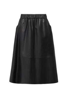 Black Leather Midi Skirt by Bagatelle