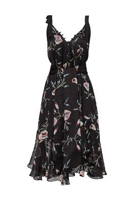 Black Floral Printed Asymmetrical Dress by Josie Natori