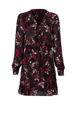 Red Abstract Floral Printed Dress by Parker