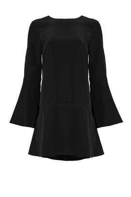 Black Silk Crew Dress by Tibi