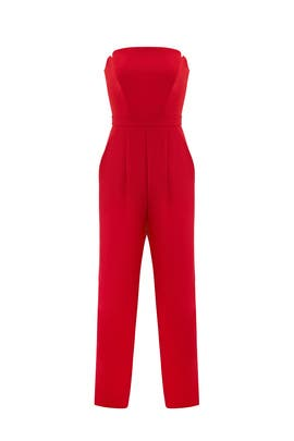 Red Strapless Jumpsuit by Jill Jill Stuart
