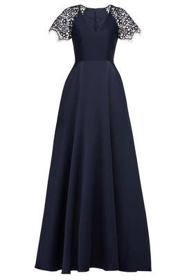 Navy Lace Sleeve Gown by ML Monique Lhuillier
