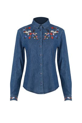 Floral Embroidered Denim Shirt by The Kooples