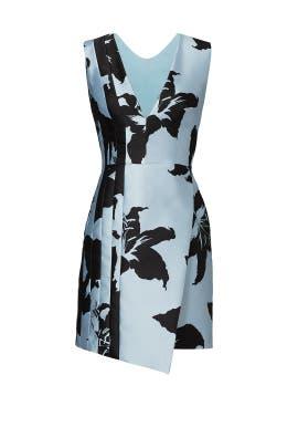 Blue Hibiscus V-Neck Dress by J. Mendel