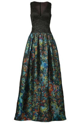 Teal Metallic Gown by ML Monique Lhuillier