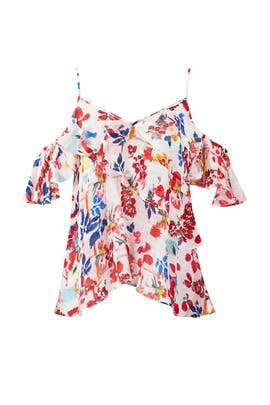 Multi Floral Cold Shoulder Top by Tanya Taylor