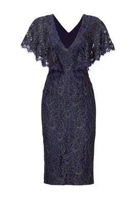 Blue Lace Flutter Sheath by Dress The Population