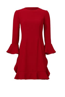 Currant Red Ruffle Bell Dress by Jill Jill Stuart