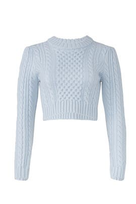 Cropped Cable Sweater by Milly
