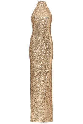 Gold Mix High Neck Gown by Badgley Mischka