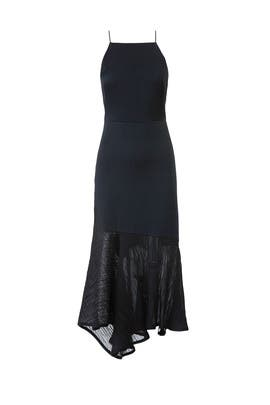 Black Plisse Cocktail Dress by Jason Wu