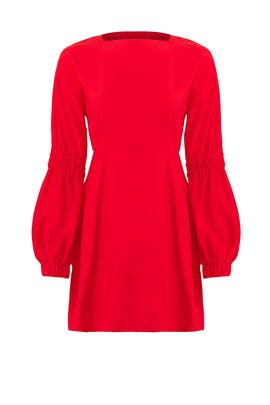 Red Back Buttons Dress by Line + Dot