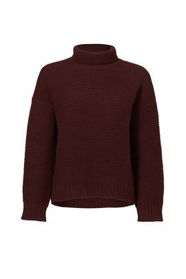 Burgundy Cashmere Funnel Neck Sweater by VINCE.