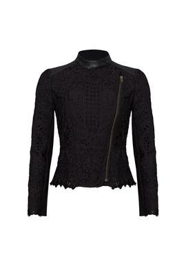 Black Lace Moto Jacket by Cut 25