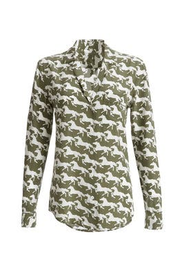 Horse Print Button Down by Equipment