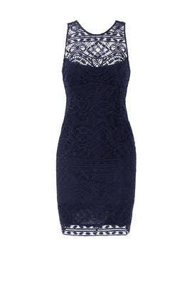 Navy Cross the Back Lace Sheath by Nanette Lepore