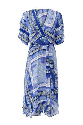 Blue Panel Wrap Dress by Parker