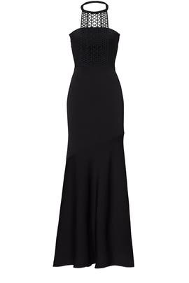 Black Embroidered Neckline Gown by Shoshanna