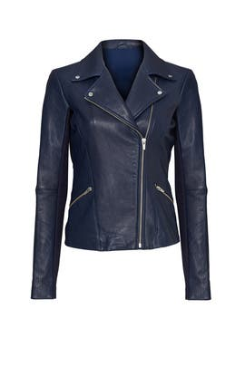 Blue Dallas Classic Leather Jacket by VEDA