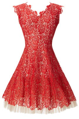 nha khanh Red Lace Dahlia Dress