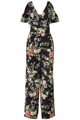 Black Floral Cold Shoulder Jumpsuit by Slate & Willow