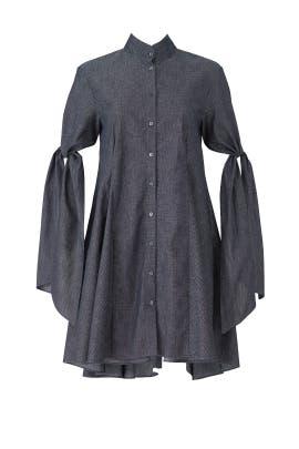 Indigo Herringbone Shirtdress by Osman