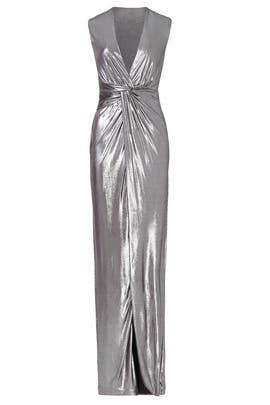 Silver Twist Column Gown by Halston Heritage