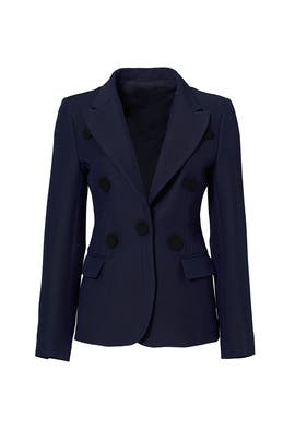 Navy Front Button Jacket by DEREK LAM