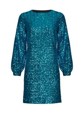 Blue Sequin Shift by Hunter Bell
