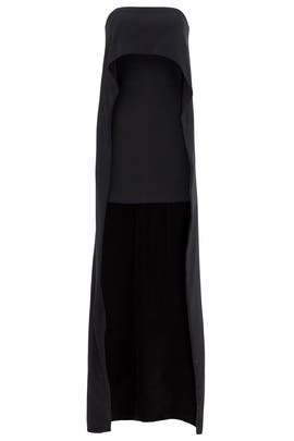 Onyx Strapless Cape Mini Dress by KAUFMANFRANCO
