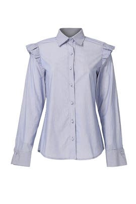 Pinstripe Ruffle Shoulder Blouse by Harvey Faircloth