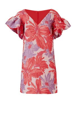 Pink Floral Ruffle Shift by Badgley Mischka