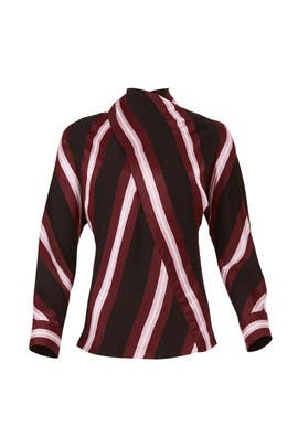 Striped High Neck Blouse by Cedric Charlier