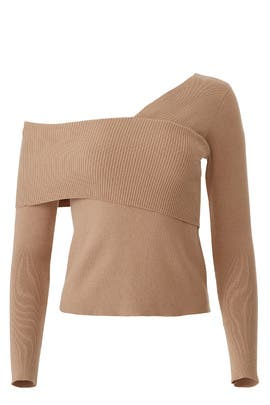 One Shoulder Knit Top by Line + Dot