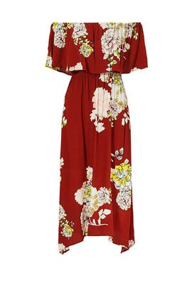 Red Rust Floral Off Shoulder Dress by ASTR