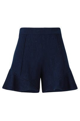 Denim Ruffle Hem Shorts by Josie Natori